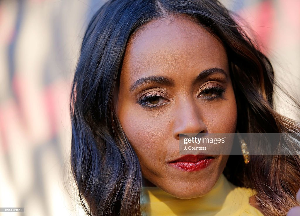 Executive producer Jada Pinkett Smith speaks to the media during the 'Free Angela and All Political Prisoners' New York Premiere at The Schomburg Center for Research in Black Culture on April 3, 2013 in New York City.