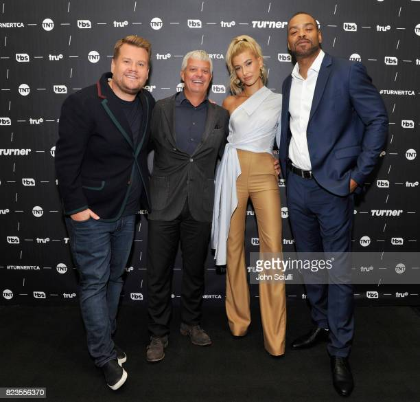 Executive producer James Corden hosts Hailey Baldwin Method Man and President of Turner David Levy of 'Drop the Mic' at the TCA Turner Summer Press...