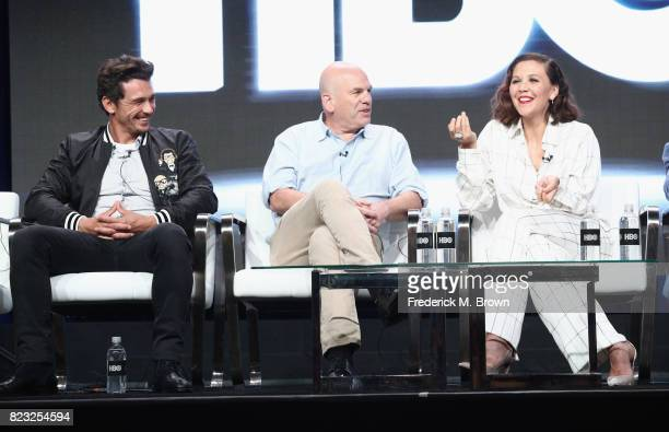 Executive producer James Franco executive producer David Simon and producer Maggie Gyllenhaal of 'The Deuce' speak onstage during the HBO portion of...