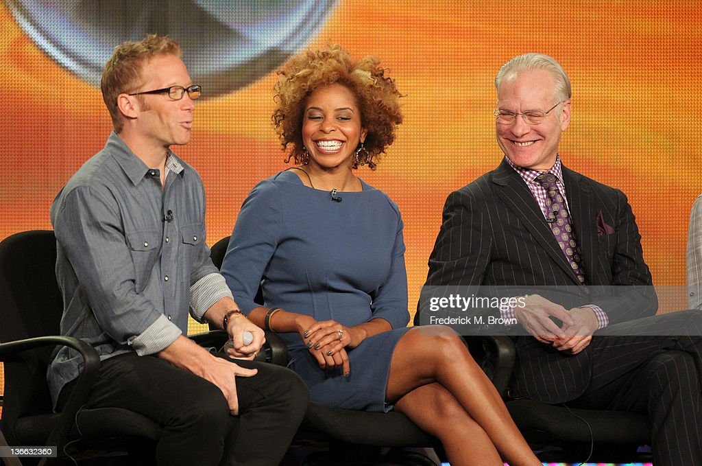 Executive producer JD Roth, co-host Dr. Tiffanie Davis Henry, and co-host <a gi-track='captionPersonalityLinkClicked' href=/galleries/search?phrase=Tim+Gunn&family=editorial&specificpeople=696109 ng-click='$event.stopPropagation()'>Tim Gunn</a> speak onstage during the 'The Revolution' panel during the Disney/ABC Television Group portion of the 2012 Winter TCA Tour at The Langham Huntington Hotel and Spa on January 9, 2012 in Pasadena, California.