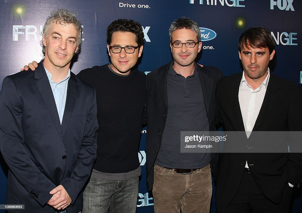 Executive Producer Jeff Pinkler, Co-Creators and Executive producers <a gi-track='captionPersonalityLinkClicked' href=/galleries/search?phrase=J.J.+Abrams&family=editorial&specificpeople=253632 ng-click='$event.stopPropagation()'>J.J. Abrams</a>, Alex Kurtzman and Roberto Orci attend 'Fringe' New York premiere party at The Xchange on August 25, 2008 in New York City.