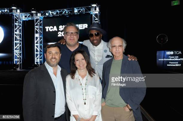 Executive producer Jeff Schaffer actors Jeff Garlin Susie Essman JB Smoove and reator and executive producer Larry David attend the HBO Summer TCA...