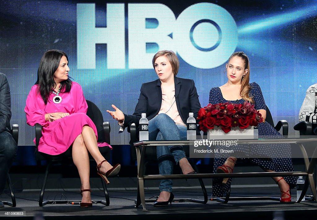 Executive Producer Jenni Konner Creator/Executive Producer/Actress Lena Dunham and actress Jemima Kirke speak onstage during the 'Girls' panel...