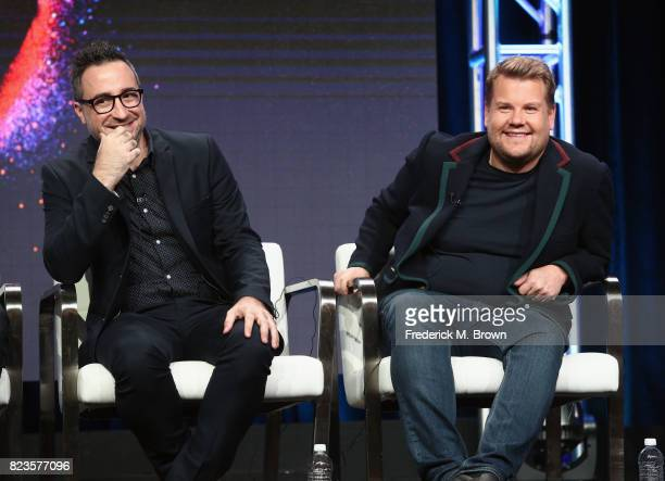 Executive producer Jensen Karp and executive producer James Corden of 'TBS Drop the Mic' speak onstage during the Turner Networks portion of the 2017...