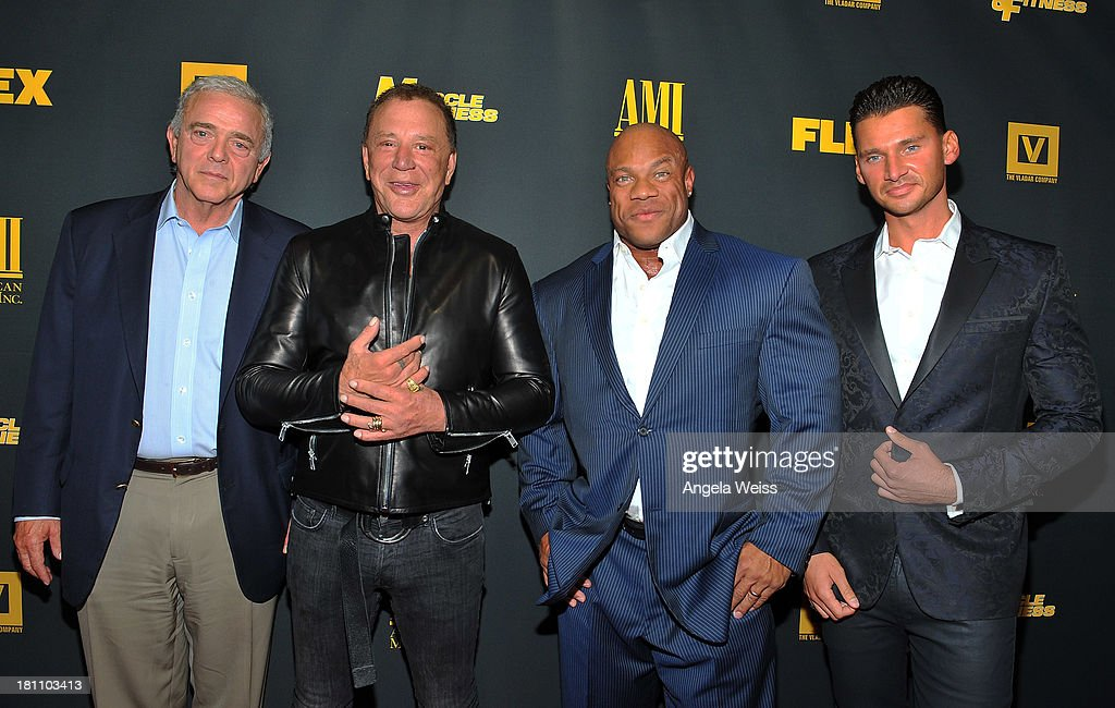 Executive producer Jerome Gary, actor <a gi-track='captionPersonalityLinkClicked' href=/galleries/search?phrase=Mickey+Rourke+-+Actor&family=editorial&specificpeople=208916 ng-click='$event.stopPropagation()'>Mickey Rourke</a>, bodybuilder Phil Heath and director/producer <a gi-track='captionPersonalityLinkClicked' href=/galleries/search?phrase=Vlad+Yudin&family=editorial&specificpeople=5451307 ng-click='$event.stopPropagation()'>Vlad Yudin</a> arrive at the Los Angeles premiere of 'GENERATION IRON' at Chinese 6 Theater Hollywood on September 18, 2013 in Hollywood, California.