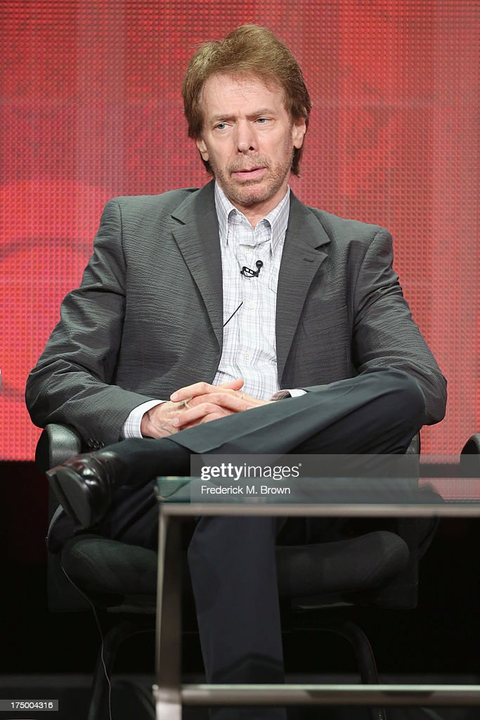 Executive producer Jerry Bruckheimer speaks onstage during the 'Hostages' panel discussion at the CBS, Showtime and The CW portion of the 2013 Summer Television Critics Association tour at the Beverly Hilton Hotel on July 29, 2013 in Beverly Hills, California.