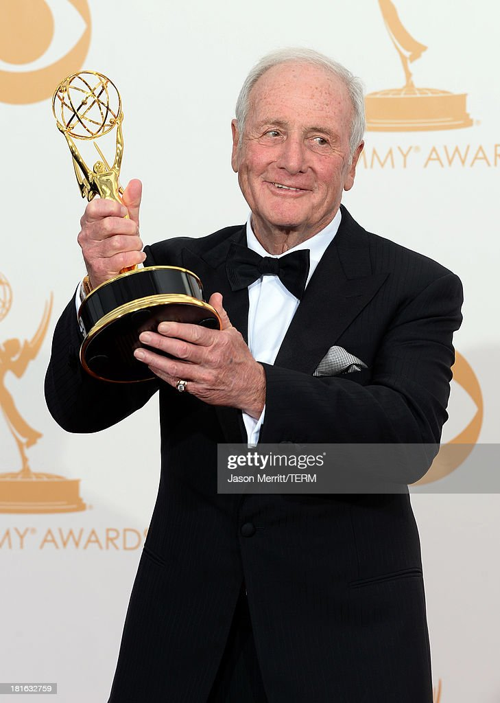Executive Producer <a gi-track='captionPersonalityLinkClicked' href=/galleries/search?phrase=Jerry+Weintraub&family=editorial&specificpeople=212833 ng-click='$event.stopPropagation()'>Jerry Weintraub</a>, winner of Outstanding Miniseries or Movie for 'Behind the Candelabra,' poses in the press room during the 65th Annual Primetime Emmy Awards held at Nokia Theatre L.A. Live on September 22, 2013 in Los Angeles, California.