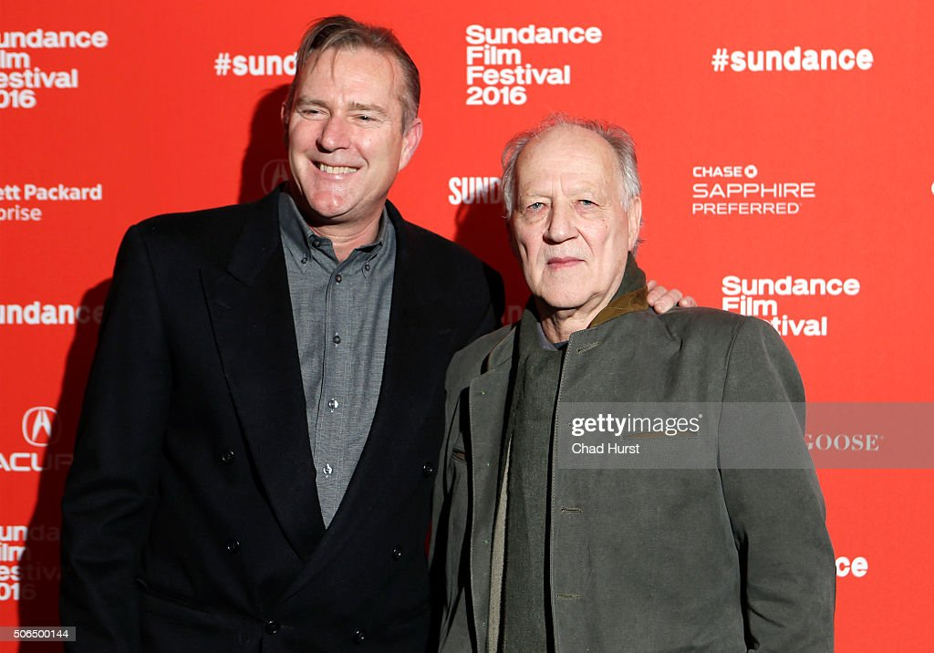 Executive producer Jim McNiel (L) and director Werner Herzog attend the 'Lo And Behold, Reveries Of The Connected World' Premiere during the 2016 Sundance Film Festival at The Marc Theatre on January 23, 2016 in Park City, Utah.