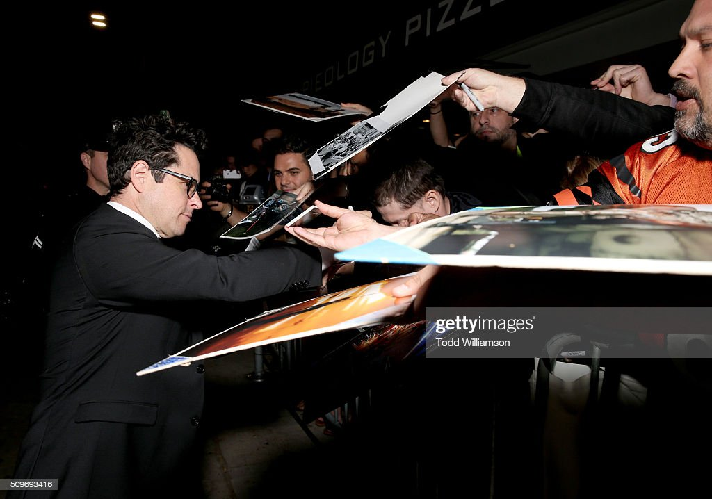 Executive Producer <a gi-track='captionPersonalityLinkClicked' href=/galleries/search?phrase=J.J.+Abrams&family=editorial&specificpeople=253632 ng-click='$event.stopPropagation()'>J.J. Abrams</a> signs autographs for fans at the Hulu Original '11.22.63' premiere at the Regency Bruin Theatre on February 11, 2016 in Los Angeles, California.