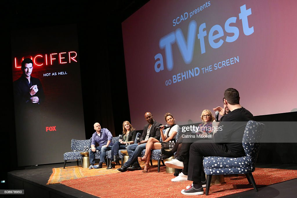 Executive Producer Joe Henderson, Executive Producer Ildy Modrovich, Actor D.B. Woodside, Actress Lesley-Ann Brandt, Actress Rachael Harris, Actor Tom Ellis, and moderator Damian Holbrook speak at 'Lucifer' event during aTVfest 2016 presented by SCAD on February 7, 2016 in Atlanta, Georgia.