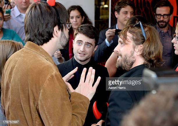 Executive producer Joe Hill actor Daniel Radcliffe and director Alexandre Aja arrive at the 'Horns' premiere during the 2013 Toronto International...