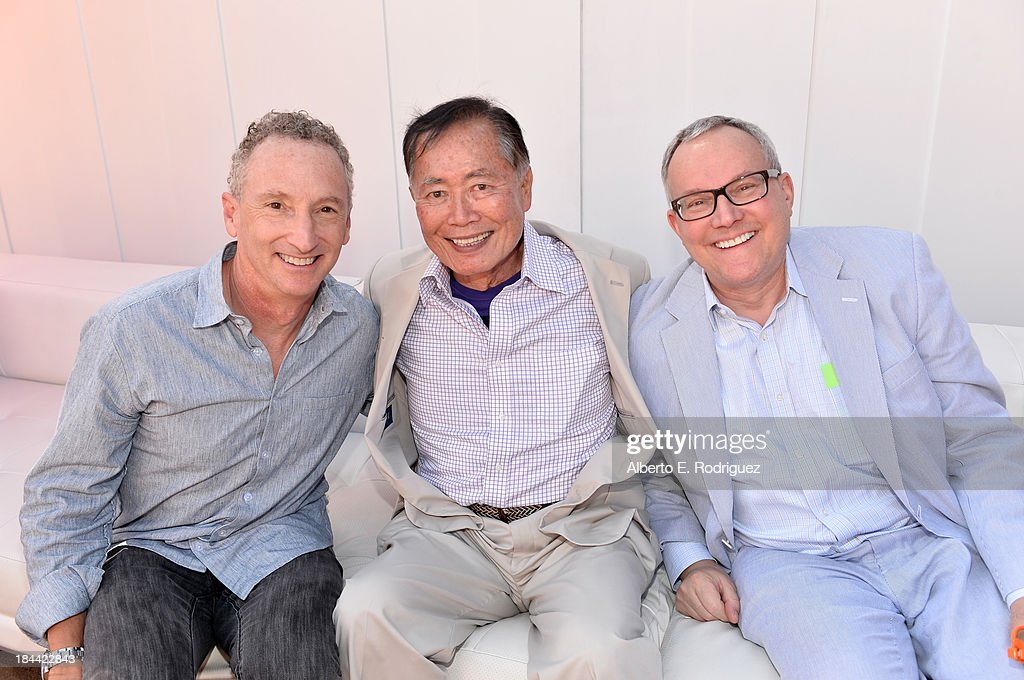 Executive producer John J. Strauss, actor <a gi-track='captionPersonalityLinkClicked' href=/galleries/search?phrase=George+Takei&family=editorial&specificpeople=1534988 ng-click='$event.stopPropagation()'>George Takei</a> and husband <a gi-track='captionPersonalityLinkClicked' href=/galleries/search?phrase=Brad+Takei&family=editorial&specificpeople=5403945 ng-click='$event.stopPropagation()'>Brad Takei</a> attend the premiere of Relativity Media's 'Free Birds' after party at the Westwood Village Theatre on October 13, 2013 in Hollywood, California.
