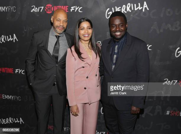 Executive Producer John Ridley and actors Freida Pinto and Babou Ceesay attend Showtime's 'Guerrilla' FYC Event at the WGA Theater on April 13 2017...