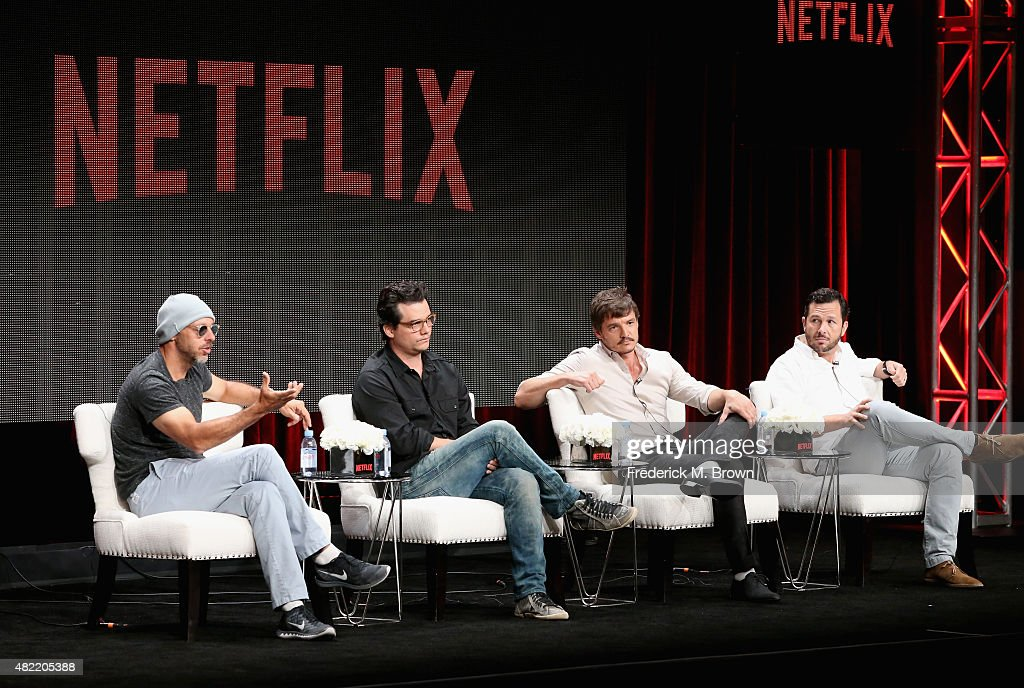 Executive producer Jose Padilha actors Wagner Moura Pedro Pascal and executive producer Eric Newman speak onstage during the 'Narcos' panel...