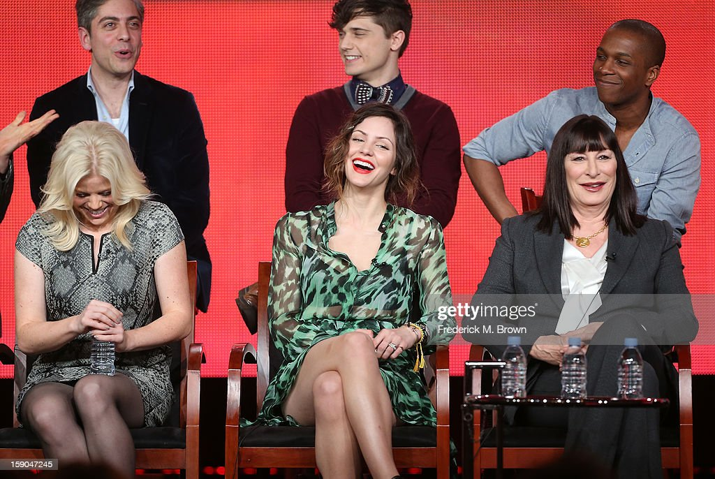 Executive Producer Joshua Safran, actors Andy Mientus, Leslie Odom Jr., (Bottom L-R) actors Megan Hilty, Katharine McPhee, and Anjelica Huston speak onstage during the 'Smash' panel discussion at the NBCUniversal portion of the 2013 Winter TCA Tour- Day 3 at the Langham Hotel on January 6, 2013 in Pasadena, California.