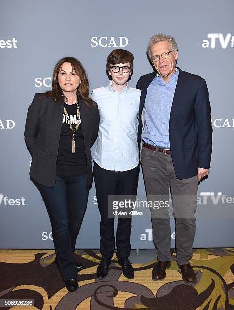 Executive Producer Kerry Ehrin Actor Freddie Highmore and Executive Producer Carlton Cuse attend the 'Bates Motel' event during aTVfest 2016...