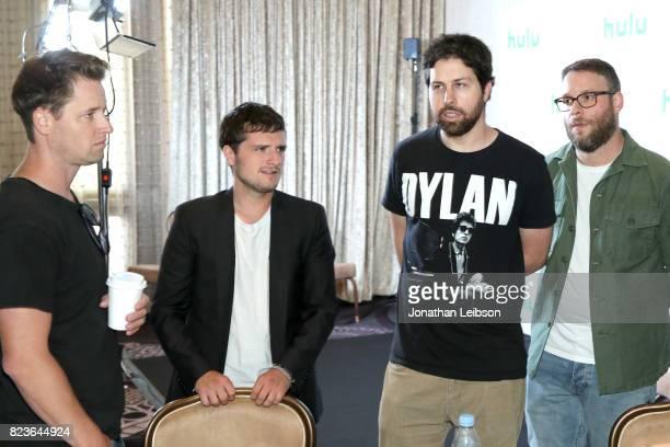 Executive producer Kyle Hunter actor Josh Hutcherson executive producer Ariel Shaffir and actor Seth Rogen at Hulu Summer TCA at The Beverly Hilton...