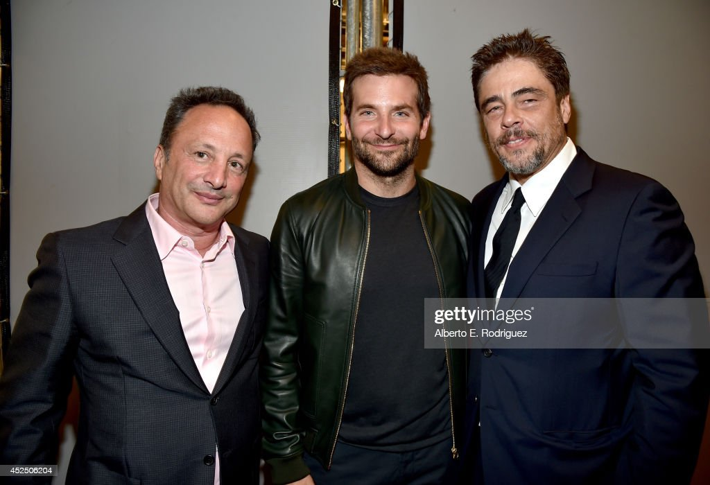"Executive producer Louis D'Esposito, actors Bradley Cooper and Benicio del Toro attend The World Premiere of Marvel's epic space adventure ""Guardians of the Galaxy,"" directed by James Gunn and presented in Dolby 3D and Dolby Atmos at the Dolby Theatre. July 21, 2014 Hollywood, CA"