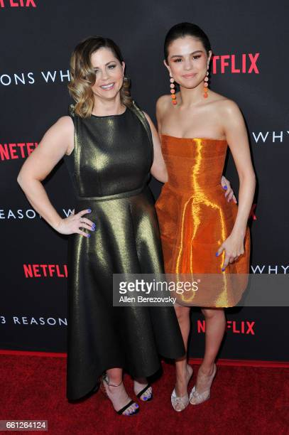 Executive producer Mandy Teefey and daughter actress/executive producer Selena Gomez attend the Premiere of Netflix's '13 Reasons Why' at Paramount...