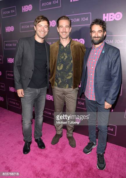 Executive Producer Mark Duplass actor James Van Der Beek and executive producer Jay Duplass attend the Los Angeles premiere for HBO's 'Room 104' at...