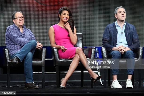Executive producer Mark Gordon actress Priyanka Chopra and writer/executive producer Joshua Safran speak onstage during the 'Quantico' panel...