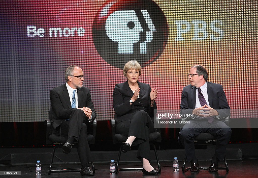 Executive Producer Mark Samels, historian Drew Gilpin Faust and filmmaker Ric Burns speak onstage at the American Experience 'Death and the Civil War' panel during day 1 of the PBS portion of the 2012 Summer TCA Tour held at the Beverly Hilton Hotel on July 21, 2012 in Beverly Hills, California.