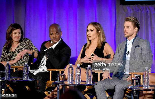 Executive producer Matilda Zoltowski Judge NeYo Executive producer/judge Jennifer Lopez and Judge Derek Hough of 'World Of Dance' speak onstage...