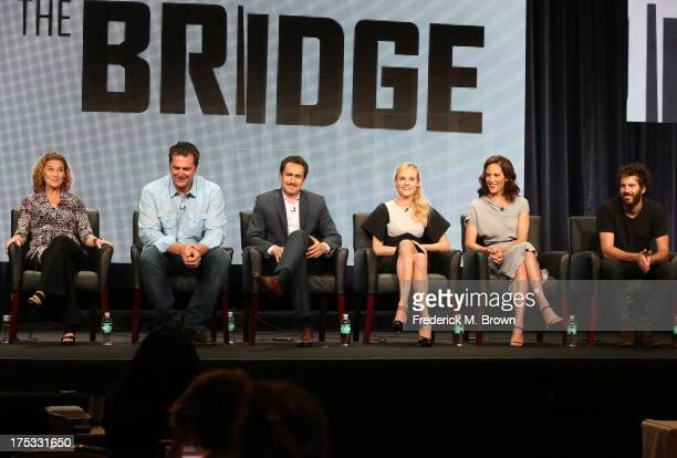 Executive Producer Meredith Stiehm Executive Producer Elwood Reid and actors Demian Bichir Diane Kruger Annabeth Gish and Thomas M Wright speak...