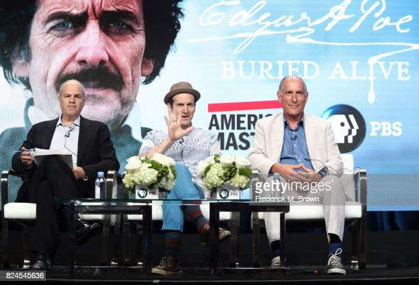 Executive producer Michael Kantor actor Denis O'Hare writer/director Eric Stange of 'Edgar Allan Poe Buried Alive' speak onstage during the PBS...