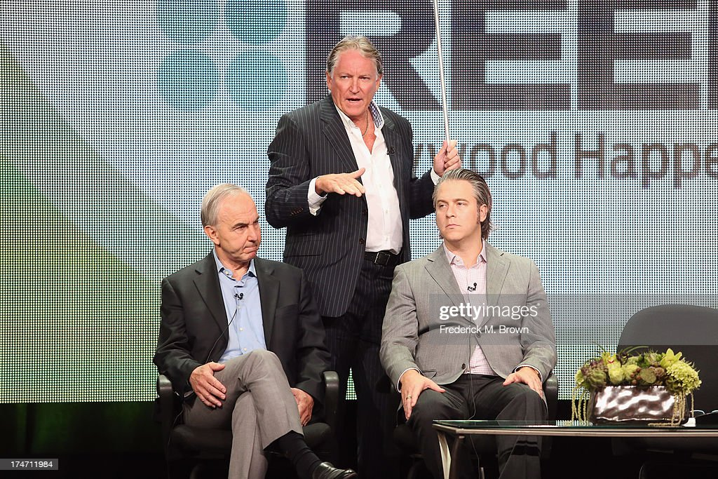 Executive Producer Michael Prupas, producer Jesse Prupas and investigative writer Colin McLaren speak onstage during 'JFK: The Smoking Gun' panel discussion at the REELZCHANNEL portion of the 2013 Summer Television Critics Association tour at the Beverly Hilton Hotel on July 28, 2013 in Beverly Hills, California.
