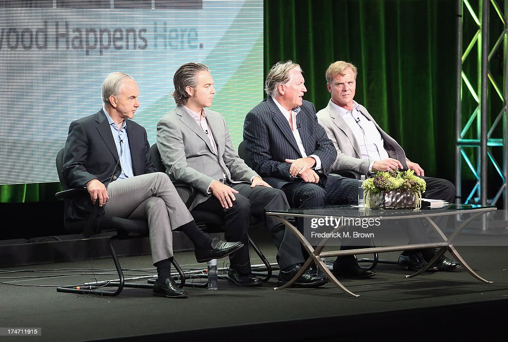 Executive Producer Michael Prupas, producer Jesse Prupas, investigative writer Colin McLaren and author Bonar Menninger speak onstage during 'JFK: The Smoking Gun' panel discussion at the REELZCHANNEL portion of the 2013 Summer Television Critics Association tour at the Beverly Hilton Hotel on July 28, 2013 in Beverly Hills, California.