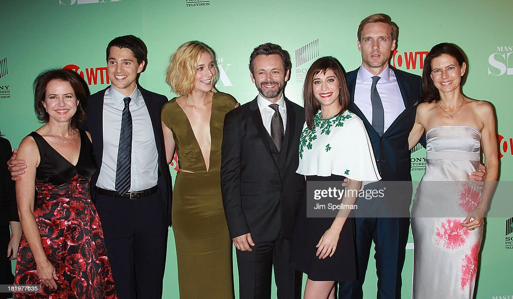 Executive Producer Michelle Ashford, actors Nick D'Agosto, Caitlin Fitzgerald, <a gi-track='captionPersonalityLinkClicked' href=/galleries/search?phrase=Michael+Sheen&family=editorial&specificpeople=213120 ng-click='$event.stopPropagation()'>Michael Sheen</a>, <a gi-track='captionPersonalityLinkClicked' href=/galleries/search?phrase=Lizzy+Caplan&family=editorial&specificpeople=599560 ng-click='$event.stopPropagation()'>Lizzy Caplan</a>, Teddy Sears and executive producer Sarah Timberman attend 'Masters Of Sex' New York Series Premiere at The Morgan Library & Museum on September 26, 2013 in New York City.