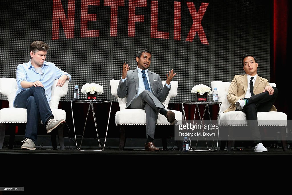 Executive producer Mike Schur actor/executive producer Aziz Ansari and executive producer Alan Yang speak onstage during the 'Master of None' panel...