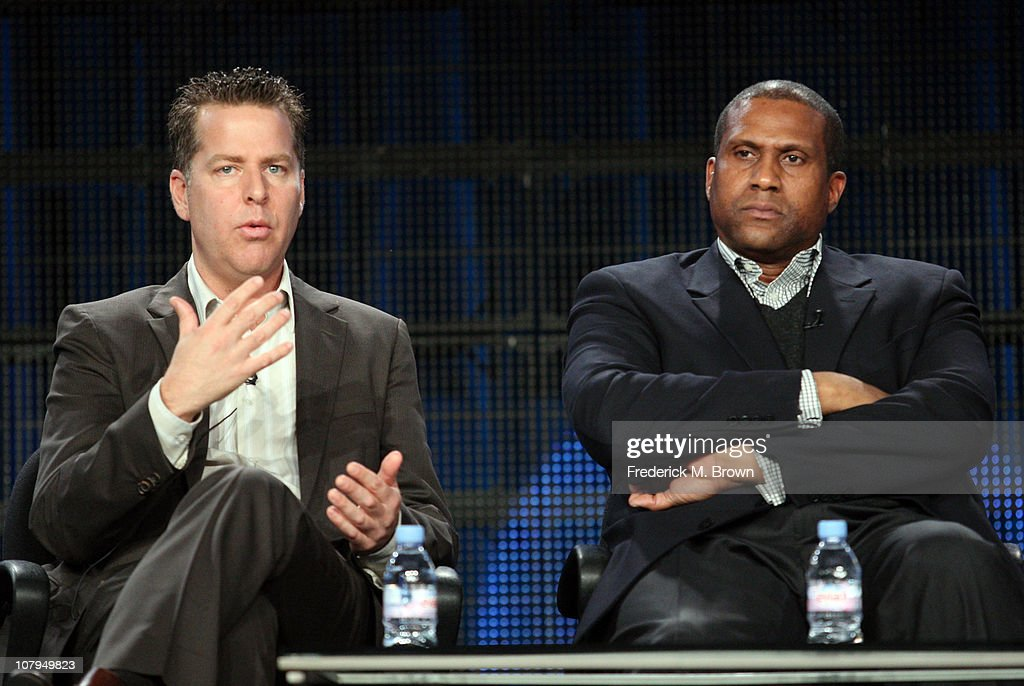Executive producer Neal Kendall and host/executive producer Tavis Smiley speak during the 'Tavis Smiley' panel at the PBS portion of the 2011 Winter...