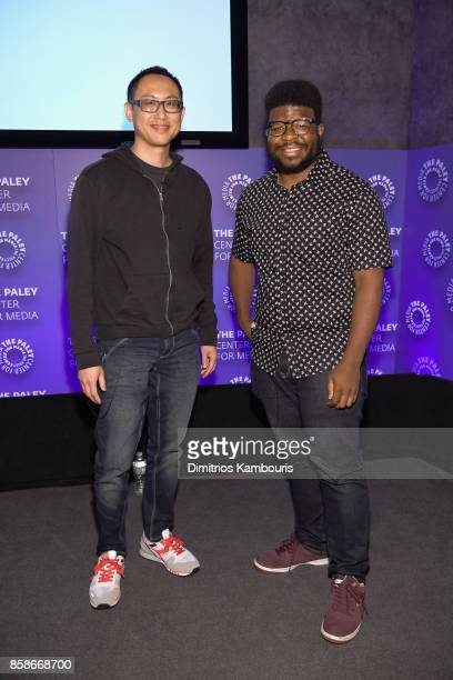 Executive Producer of Ben 10 John Fang and Creator of OK KO Ian JonesQuartey pose for a photo onstage during the Cartoon Network 25 The Art Of The...