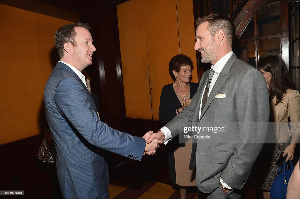 Executive Producer of Dream School Andrew Jameson and David Arquette shake hands before speaking on a Panel On Education In Anticipation Of Upcoming Series 'Dream School' on October 1, 2013 in New York City.