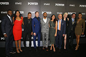 Executive producer of 'Power' Curtis Jackson actors Courtney Kemp Agboh Rotimi Akinosho Joseph Sikora Omari Hardwick Lela Loren CEO of Starz Chris...