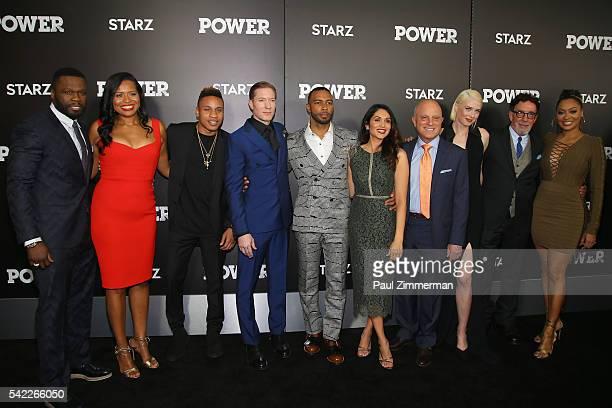 Executive producer of 'Power' Curtis Jackson actors Courtney Kemp Agboh Rotimi Akinosho Joseph Sikora Omari Hardwick Lela Loren CEO of Starz Chris...