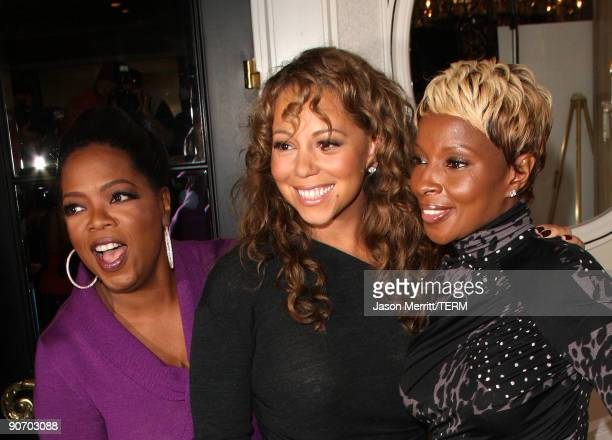 Executive producer Oprah Winfrey actress Mariah Carey and singer Mary J Blige pose at the 'Precious Based On The Novel 'Push' By Sapphire' press...