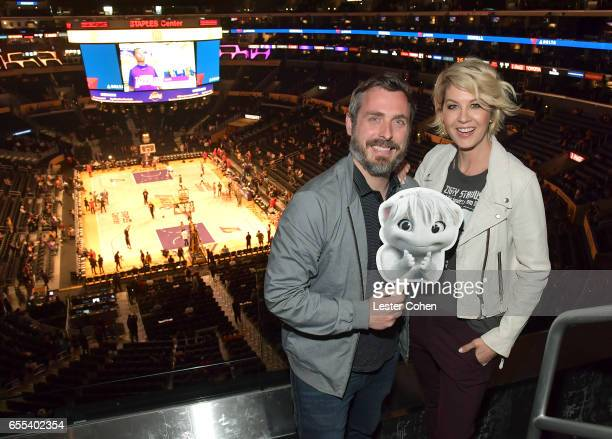 Executive Producer Patrick Osborne and actress Jenna Elfman attend the Los Angeles Lakers game to celebrate the series premiere of ABC's 'Imaginary...