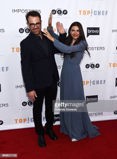 Executive producer Paul Adelstein and actress Marianne Rendon arrive at the Bravo 'Imposters' For Your Consideration event with a food and cocktail...