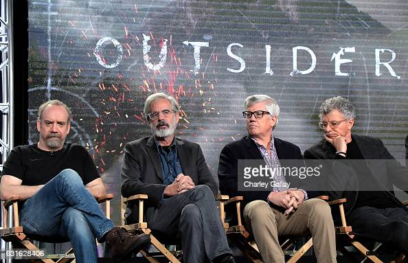 Executive producer Paul Giamatti creator Peter Mattei executive producer Peter Tolan and director Jon Amiel speak during the 'Outsiders' panel at the...