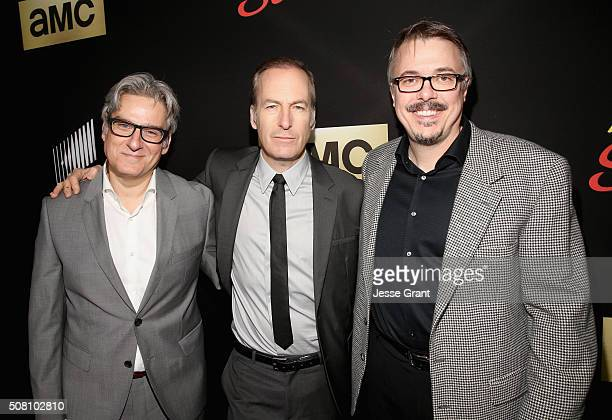 Executive producer Peter Gould actor Bob Odenkirk and executive producer Vince Gilligan attend 'Better Call Saul' Season 2 Premiere at Arclight...
