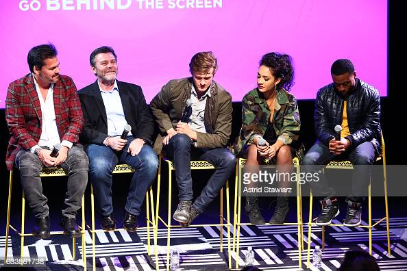 Executive Producer Peter Lenkov Co EP Jeff Downer Actor Lucas Till Actress Tristin Mays and Actor Justin Hires speak at a QA for 'MacGyver' on Day...