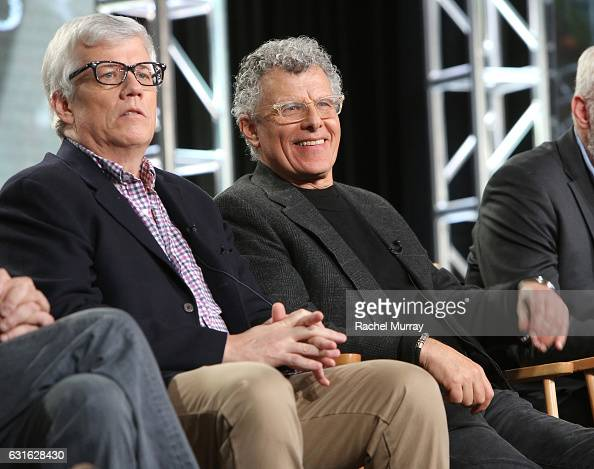 Executive producer Peter Tolan and director Jon Amiel speak during the 'Outsiders' panel at the WGN America Winter TCA at Langham Hotel on January 13...