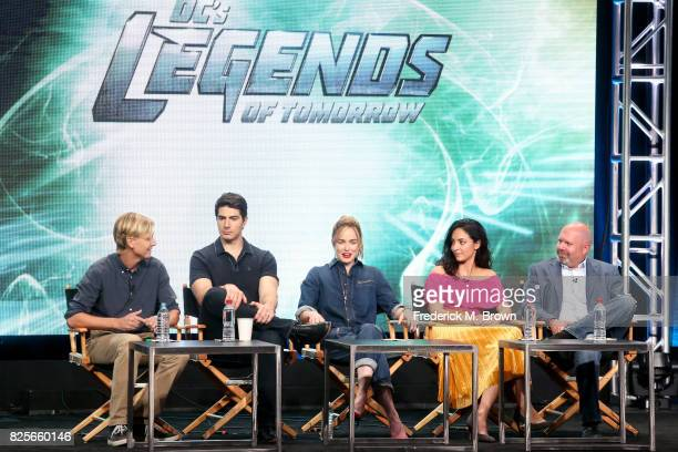Executive producer Phil Klemmer actors Brandon Routh Caity Lotz Tala Ashe and executive producer Marc Guggenheim of 'DC's Legends of Tomorrow' speak...