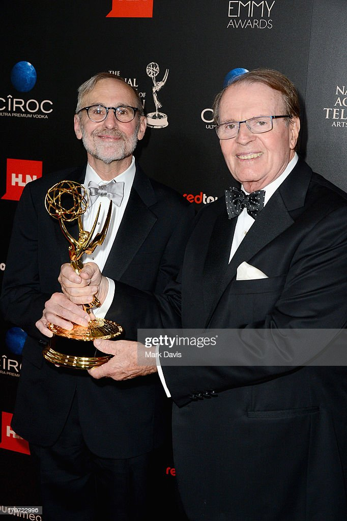 Executive producer Rand Morrison and host Charles Osgood pose with the Outstanding Morning Program award for 'CBS Sunday Morning' in the press room during The 40th Annual Daytime Emmy Awards at The Beverly Hilton Hotel on June 16, 2013 in Beverly Hills, California.