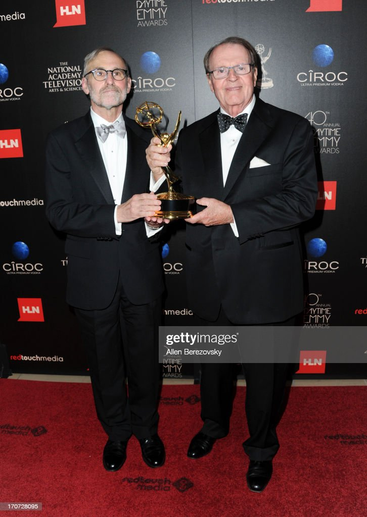 Executive producer Rand Morrison and host Charles Osgood pose with the Outstanding Morning Program award for 'CBS Sunday Morning' at 40th Annual Daytime Entertaimment Emmy Awards at The Beverly Hilton Hotel on June 16, 2013 in Beverly Hills, California.