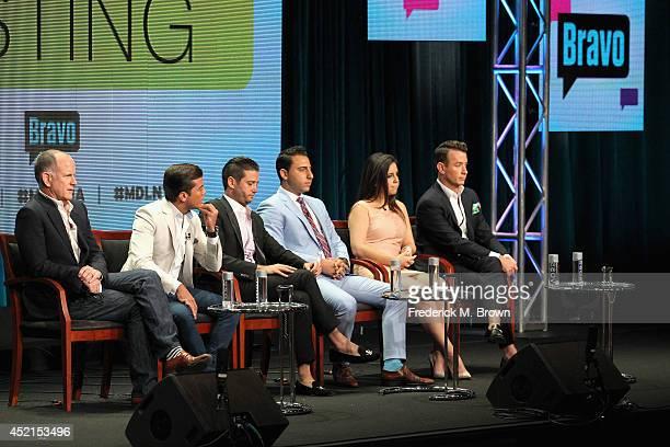 Executive producer Randy Barbato TV personalities Luis D Ortiz Josh Flagg Josh Altman Samantha DeBianchi and Chris Leavitt speak onstage at the...