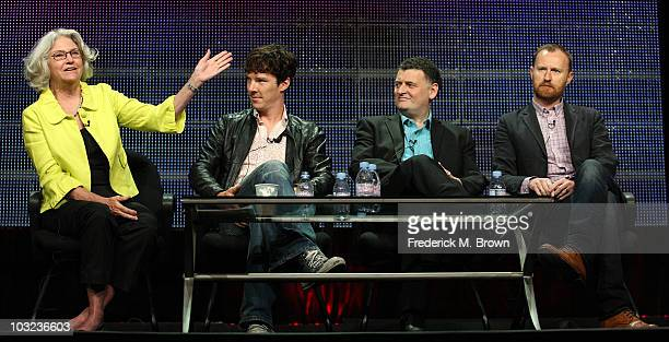 Executive producer Rebecca Eaton actor Benedict Cumberbatch cocreators Steven Moffat and Mark Gatiss of the television show 'Sherlock' speak during...